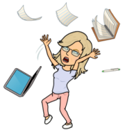 Bitmoji Me tossing books, paper and laptop