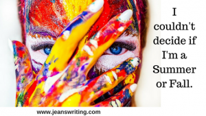 Woman's face covered in many colors on Jean's Writing.com