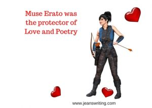 Modern day Muse Erato hunting with bow and arrow on Jean's Writing.com