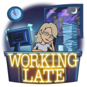 Bitmoji Jean Cogdell working late