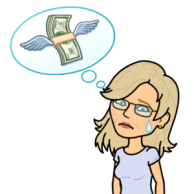 Losing money, money flying away Bitmoji Jean M Cogdell