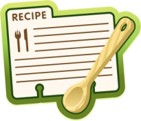 Recipe file card and wooden spoon - Jean's Writing