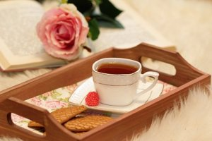 tea tray with rose and book