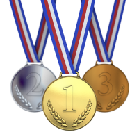 1-2-3 place award metals