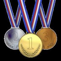 1-2-3 place award metals